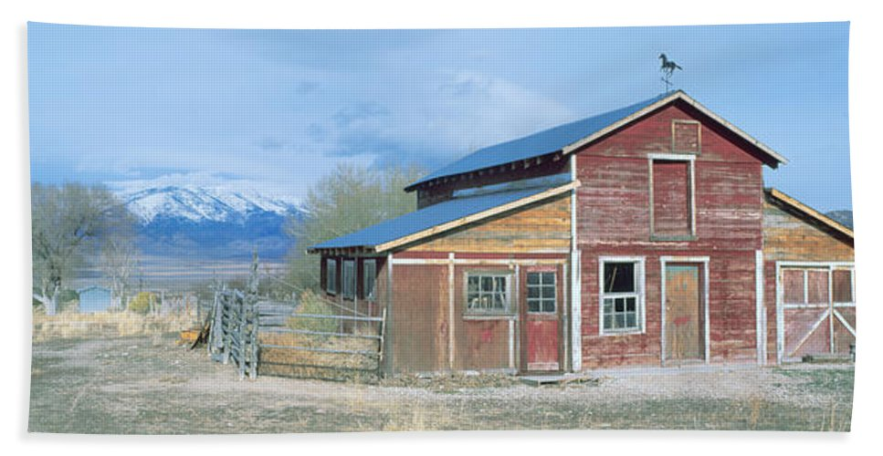 Photography Bath Sheet featuring the photograph Red Barn, Route 50, Nevada by Panoramic Images