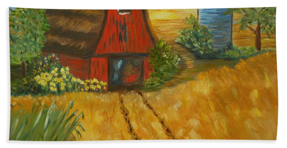 Red Barn   Oil Painting   Old Barn   Impressionism   Wheat Field   Farmland   Sunflowers   Abstract Art   Midwest Art   Autumn Colors   Tractor Tracks   Contemporary Art   Midwest Sunset Hand Towel featuring the painting Red Barn- Wheat Field- Down Home by Kathy Symonds