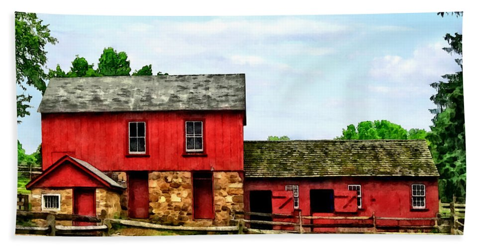 Rural Bath Sheet featuring the photograph Red Barn With Fence by Susan Savad