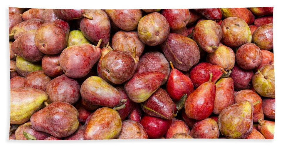 Fruit Hand Towel featuring the photograph Red Bartlett Pears by John Trax