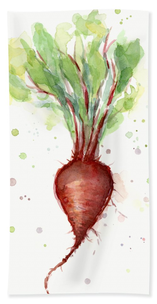 Watercolor Hand Towel featuring the painting Red Beet Watercolor by Olga Shvartsur