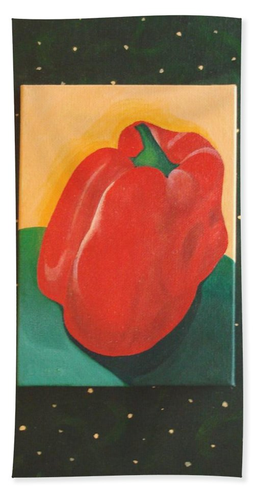 Bell Pepper Bath Sheet featuring the painting Red Bell by Helena Tiainen