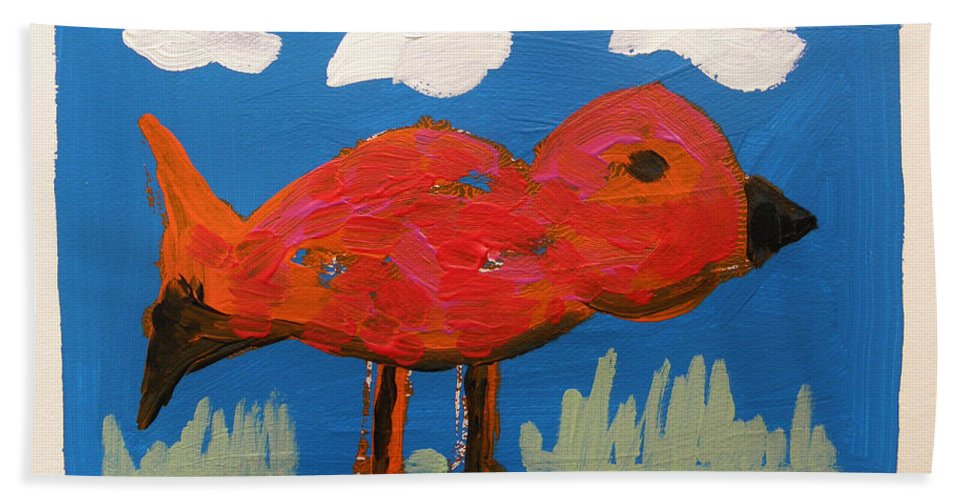 Acrylic Hand Towel featuring the painting Red Bird In Grass by John Williams
