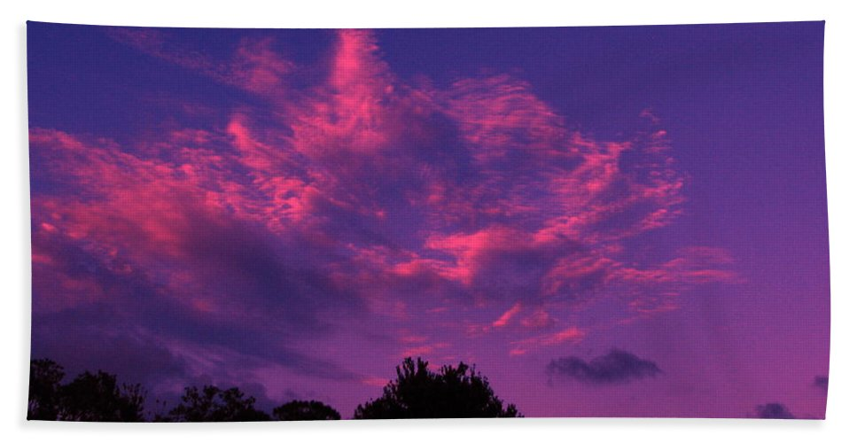 Night Scape Bath Towel featuring the photograph Red Blue Sky by Greg Patzer