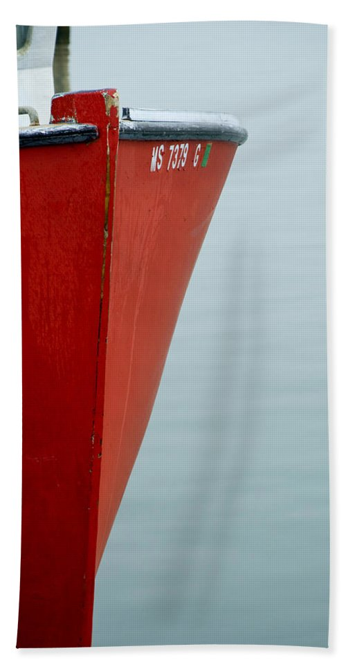 Red Hand Towel featuring the photograph Red Boat by Charles Harden