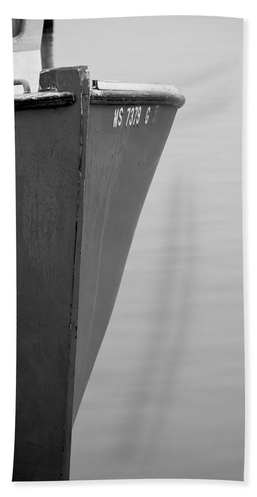 Boat Hand Towel featuring the photograph Red Boat In Black And White by Charles Harden