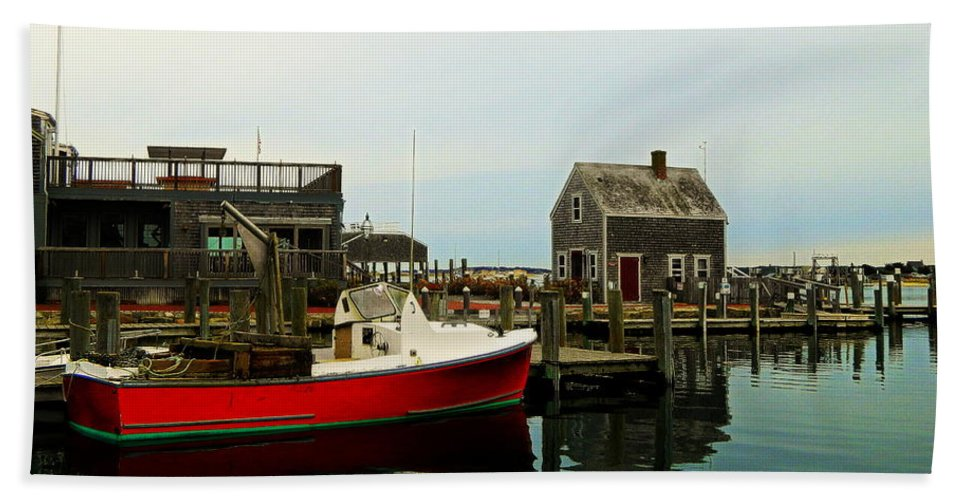 Harbor Hand Towel featuring the photograph Red Boat by Kathy Barney