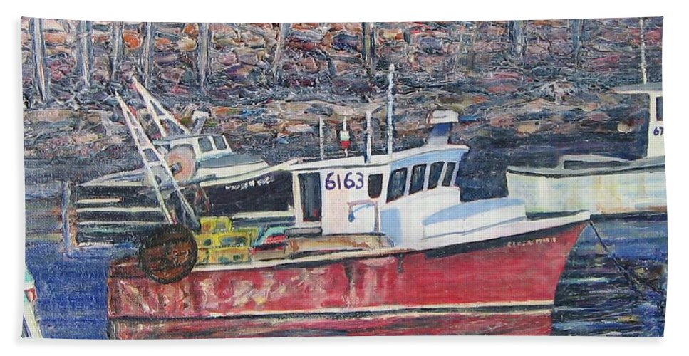 Boat Hand Towel featuring the painting Red Boat Reflections by Richard Nowak