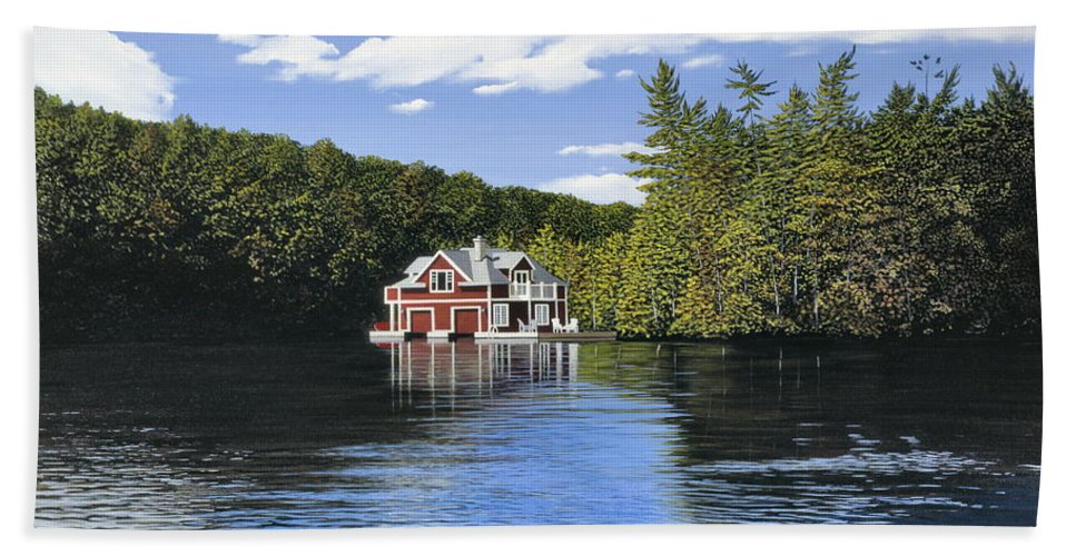 Landscapes Bath Towel featuring the painting Red Boathouse by Kenneth M Kirsch