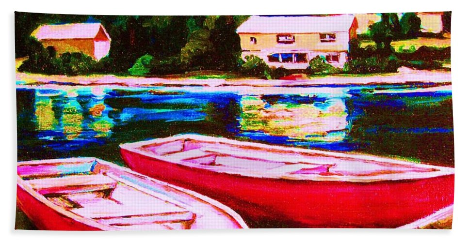 Red Boats Hand Towel featuring the painting Red Boats At The Lake by Carole Spandau
