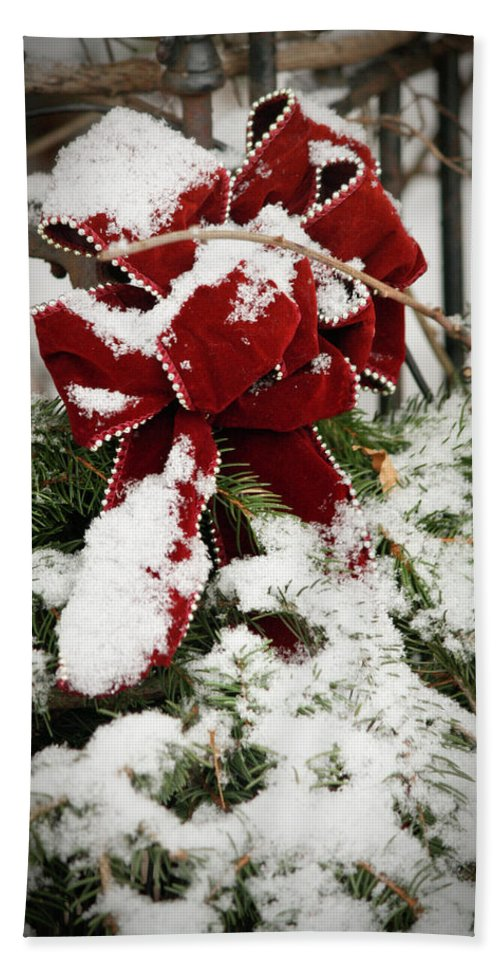 Winter Bath Sheet featuring the photograph Red Bow On Pine Bough by Teresa Mucha