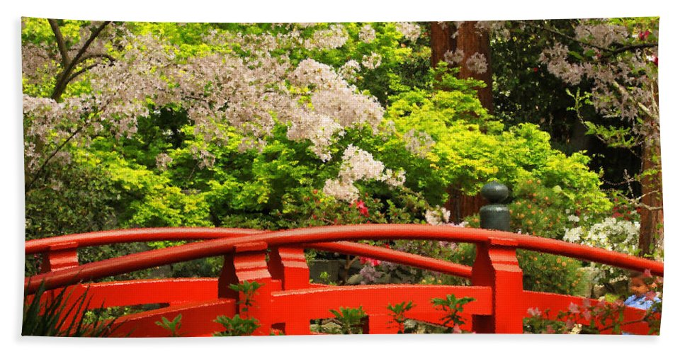 Floral Bath Sheet featuring the photograph Red Bridge Springtime by James Eddy