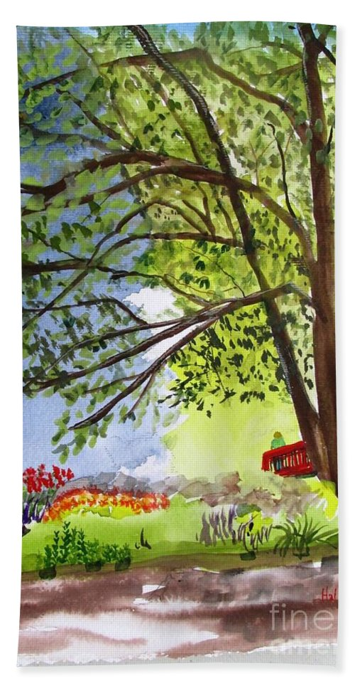 Landscape Bath Sheet featuring the painting Red Brtdge by Hal Newhouser
