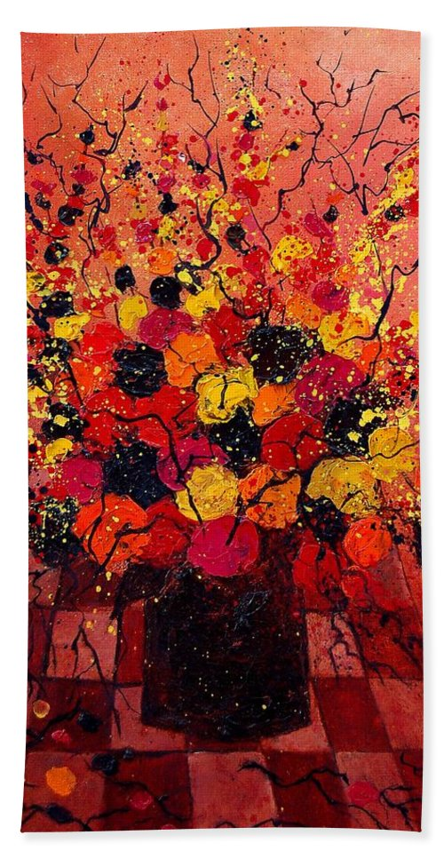 Flowers Hand Towel featuring the painting Red Bunch by Pol Ledent