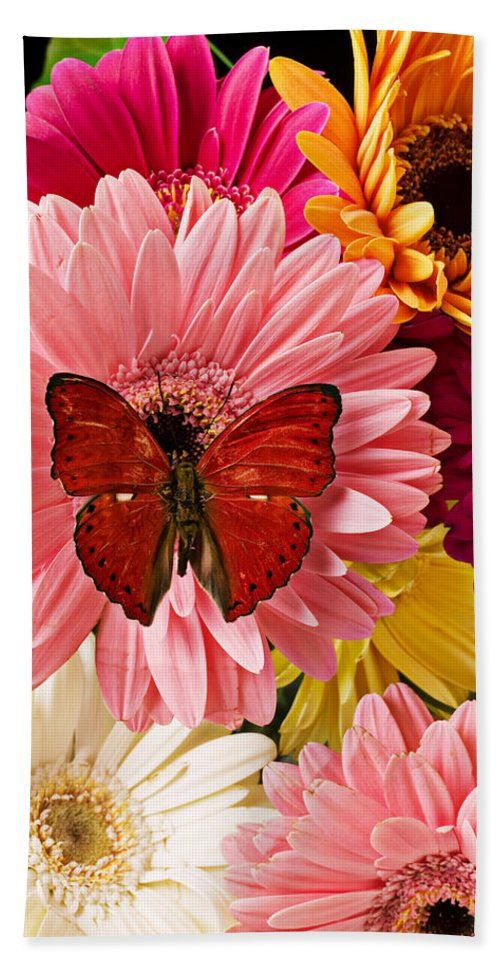 Butterfly Daisy Wings Flower Flowers Petal Petals Floral Bath Towel featuring the photograph Red Butterfly On Bunch Of Flowers by Garry Gay