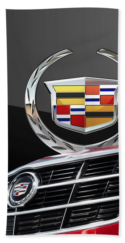 'auto Badges' By Serge Averbukh Bath Towel featuring the photograph Red Cadillac C T S - Front Grill Ornament and 3D Badge on Black by Serge Averbukh