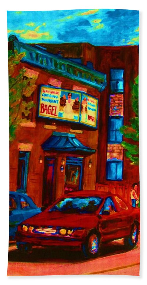Fairmount Bagel Hand Towel featuring the painting Red Car Blue Sky by Carole Spandau