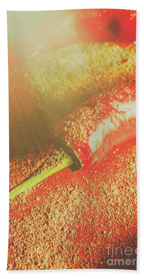 Spices Hand Towel featuring the photograph Red Cayenne Pepper In Spicy Seasoning by Jorgo Photography - Wall Art Gallery