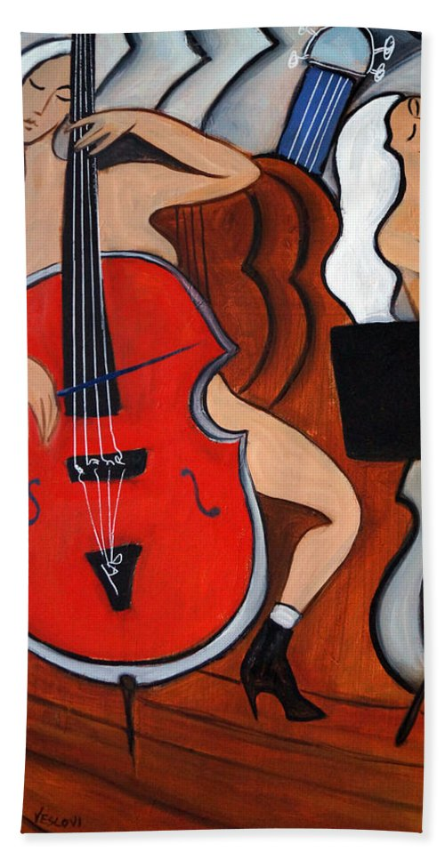 Cubic Abstract Hand Towel featuring the painting Red Cello 2 by Valerie Vescovi