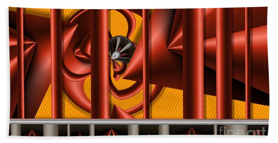 Abstract Hand Towel featuring the digital art Red Columns 4 by Ron Bissett