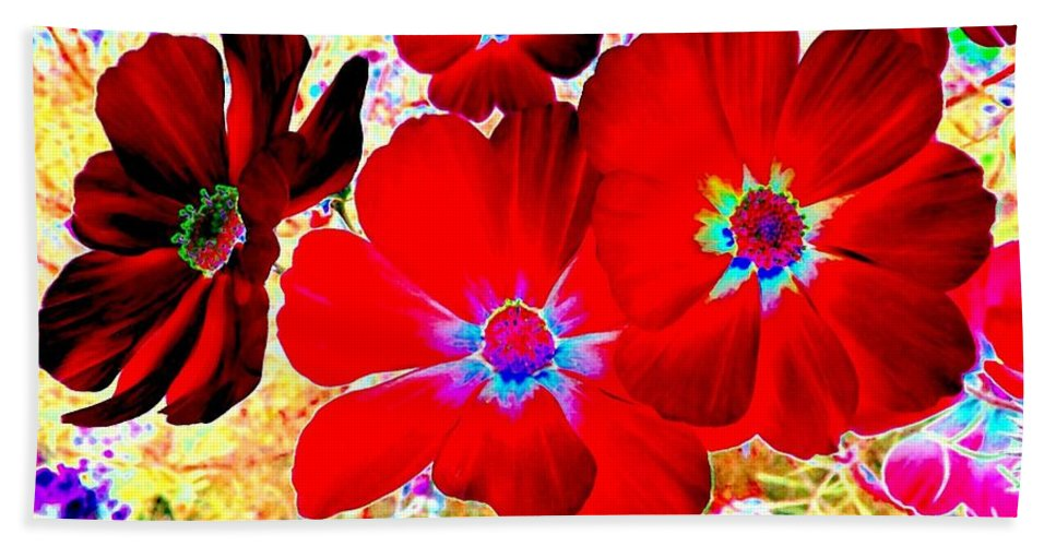 Red Cosmos Bath Towel featuring the digital art Red Cosmos by Will Borden