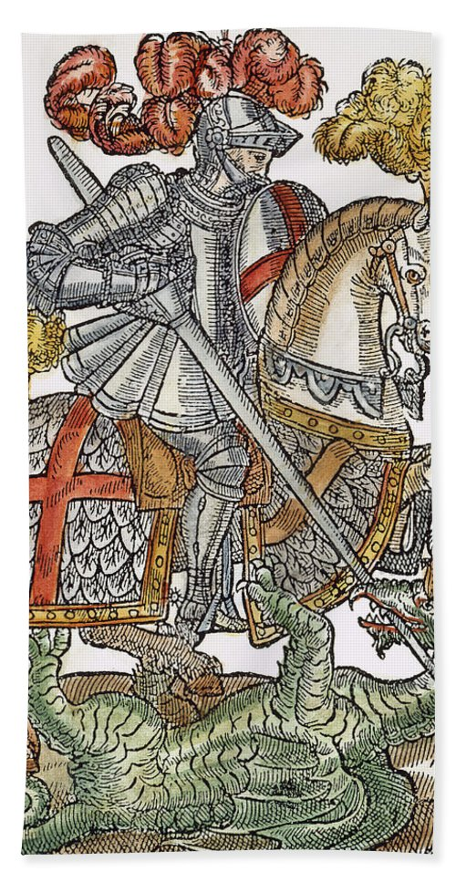 1598 Bath Sheet featuring the photograph Red Cross Knight, 1598 by Granger