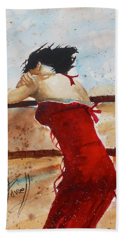 Figer Bath Sheet featuring the painting Red Dancer by George Powell