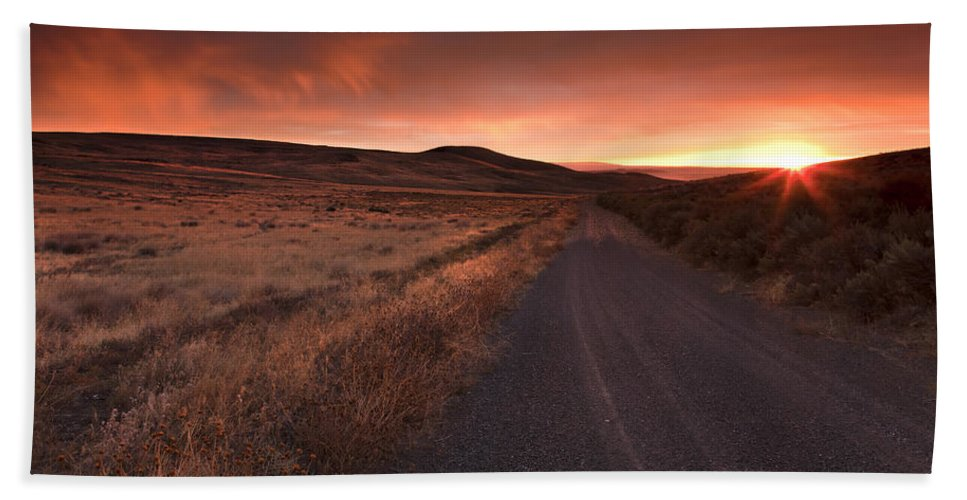 Country Road Hand Towel featuring the photograph Red Dawn by Mike Dawson