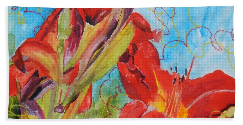 Red Hand Towel featuring the painting Red Day Lilies by Jean Blackmer