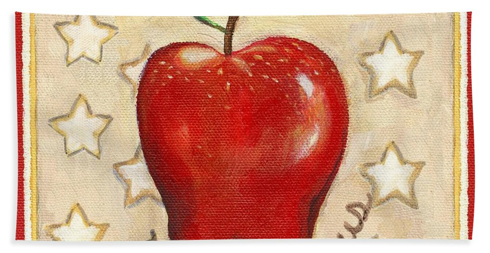 Still Life Bath Sheet featuring the painting Red Delicious Two by Linda Mears