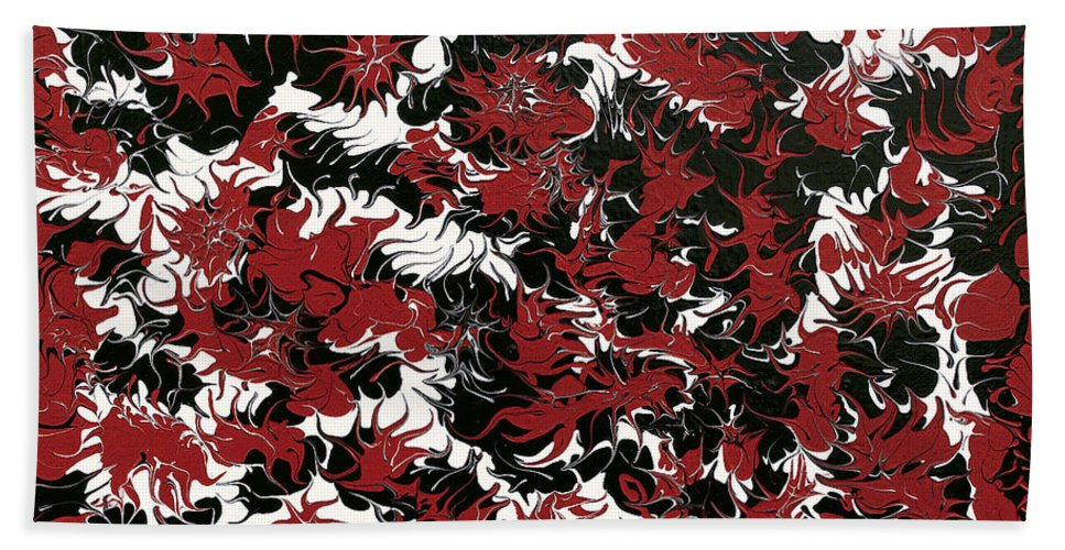 Keith Elliott Hand Towel featuring the painting Red Devil U - V1lle30 by Keith Elliott