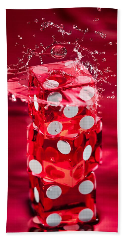 Dice Hand Towel featuring the photograph Red Dice Splash by Steve Gadomski