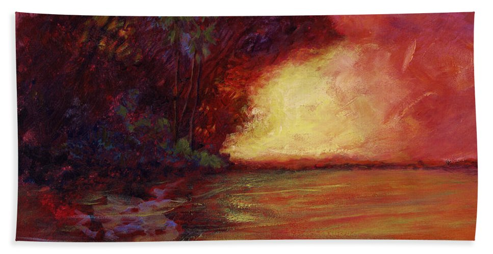 Impressionism Hand Towel featuring the painting Red Dusk by Julianne Felton