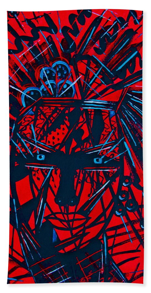 Abstract Bath Towel featuring the painting Red Exotica by Natalie Holland
