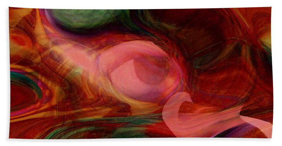 Abstract Art Hand Towel featuring the digital art Red Eye by Linda Sannuti