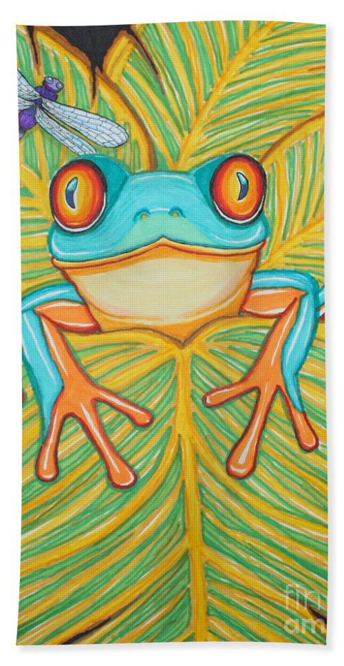 Frog Hand Towel featuring the drawing Red Eyed Tree Frog And Dragonfly by Nick Gustafson