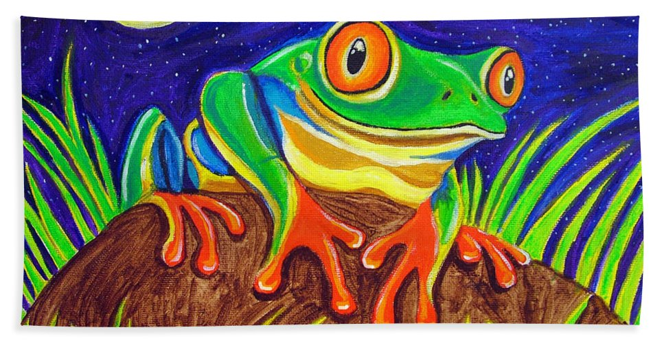 Red-eyed Tree Frog Hand Towel featuring the painting Red-eyed Tree Frog And Starry Night by Nick Gustafson