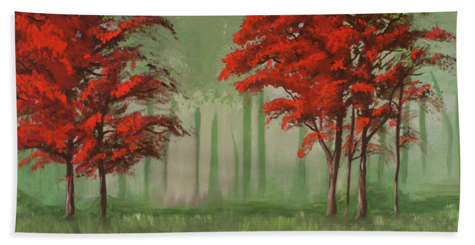 Forest Bath Sheet featuring the painting Red Fall by Jamie Bishop