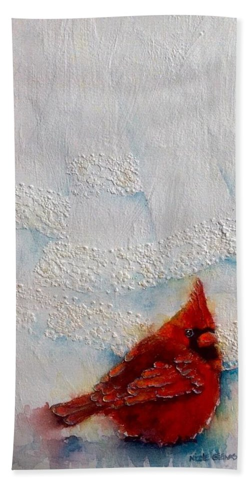 Cardinal Hand Towel featuring the painting Red Feathers by Nicole Gelinas