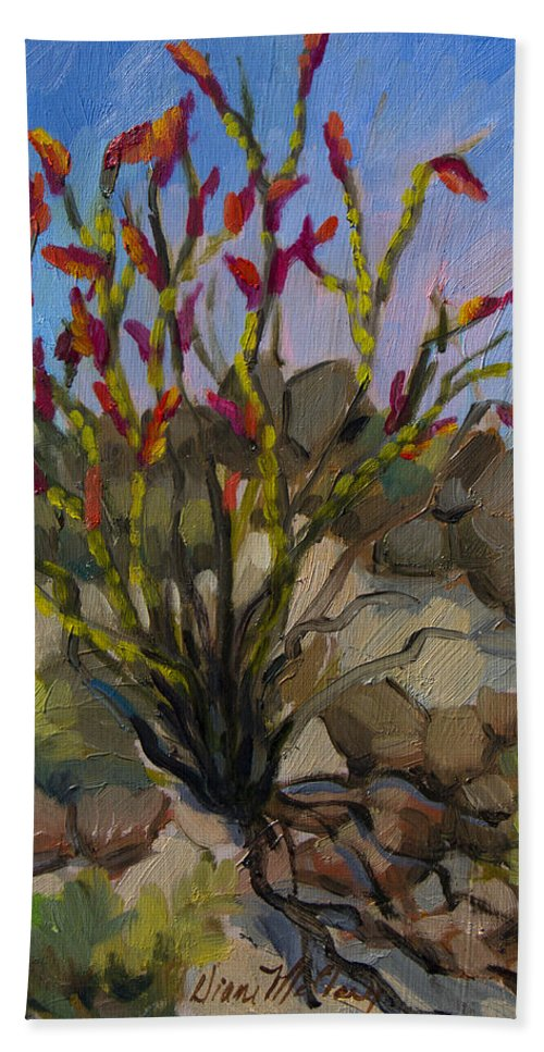 Ocotillo Bath Towel featuring the painting Red Flame Ocotillo 5 by Diane McClary