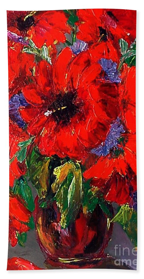 Red Bath Towel featuring the painting Red Floral by Beverly Boulet