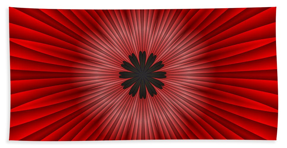 Abstract Bath Sheet featuring the digital art Red Floral by Michelle McPhillips