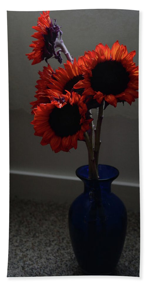 Red Bath Sheet featuring the photograph Red Flower Blue Vase by Whispering Peaks Photography