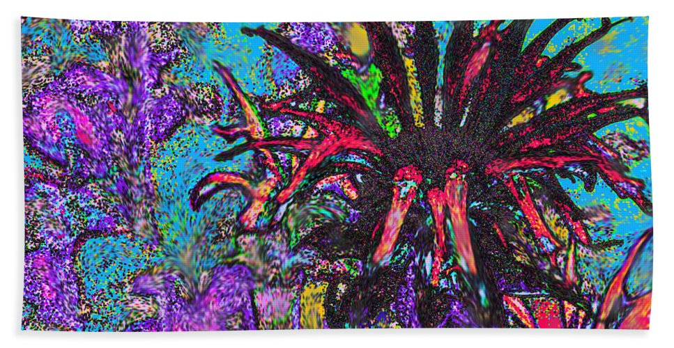 Abstract Bath Sheet featuring the digital art Red Flower In The Garden by Ian MacDonald