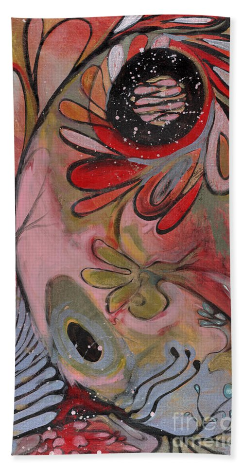 Painting Hand Towel featuring the painting Red Flower by Michelle Spiziri