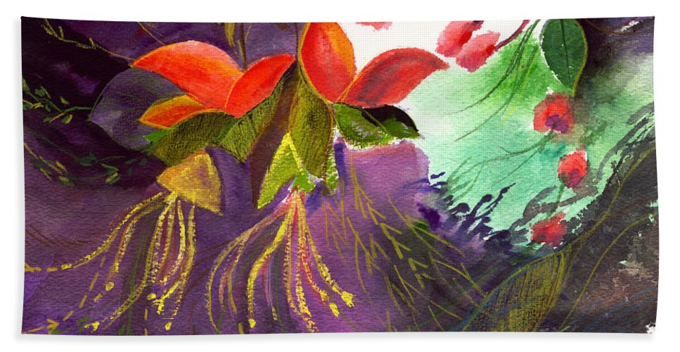Flower Hand Towel featuring the painting Red Flowers by Anil Nene