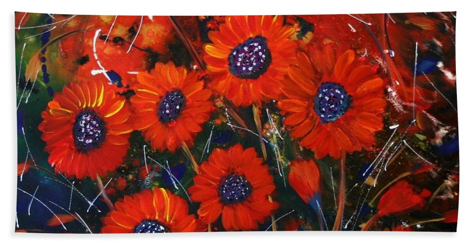Flowers Bath Towel featuring the painting Red Flowers In The Night by Luiza Vizoli