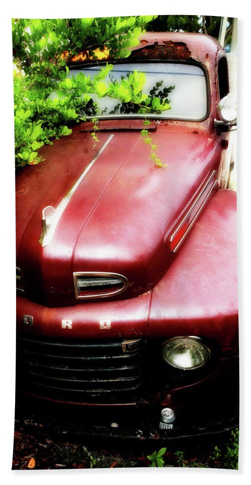 Red Ford Bath Sheet featuring the photograph Red Ford by Artie Rawls