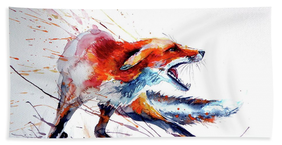Red Fox Animal Hand Towel featuring the painting Red Fox /big by Kovacs Anna Brigitta