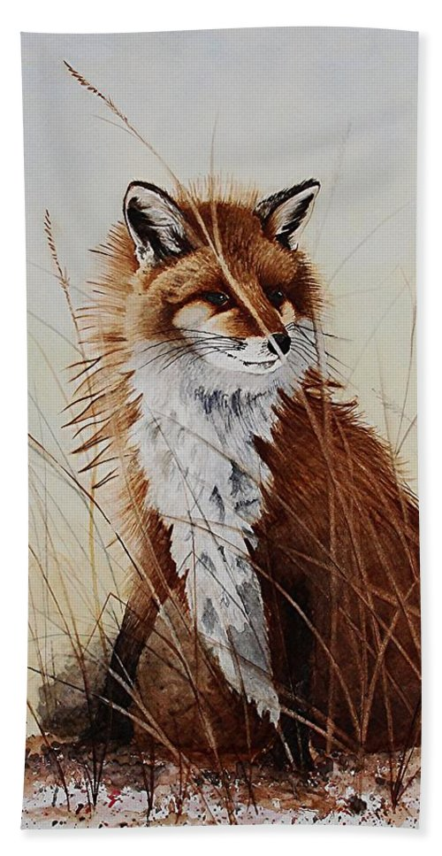 Wildlife Bath Sheet featuring the painting Red Fox Waiting On Breakfast by Jimmy Smith